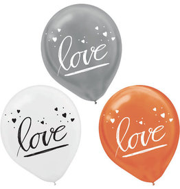 "Gold, Silver and White 'Love' 12"" Latex Balloons 15 pk"