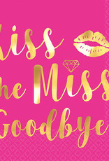Hot Pink Foild Stamped 'Kiss the Miss' Beverage Napkins 16CT
