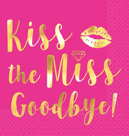 Hot Pink Foild Stamped 'Kiss the Miss' Beverage Napkins 16CT