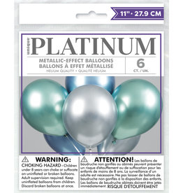 "12"" Latex Platinum Balloon 6ct - Blue, Green, Silver"