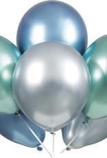 "12"" Latex Platinum Balloon 6ct - Blue, Green, Silver"