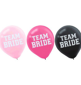 "Team Bride Latex Balloon 12"" 15pk"