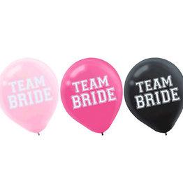 """Team Bride Latex Balloon 12"""" 15pk"""