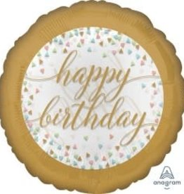 "'Happy Birthday' Gold Trim See-Thru 18"" Mylar"