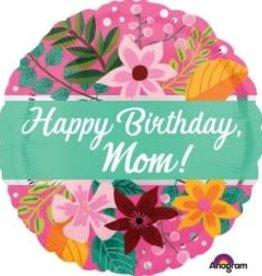 "Happy Birthday Mom  Flowers Foil Balloon 18"""