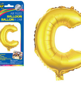 """Gold Letter C Balloon (14"""" Air Filled)"""