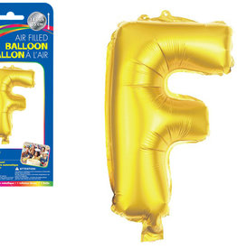 """Gold Letter F Balloon (14"""" Air Filled)"""
