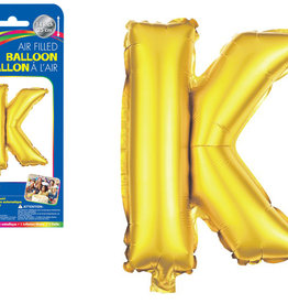 """Gold Letter K Balloon (14"""" Air Filled)"""