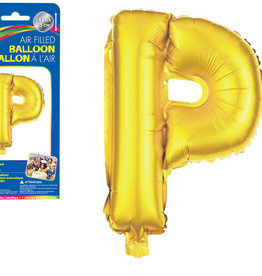 """Gold Letter P Balloon (14"""" Air Filled)"""