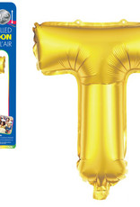 """let's Party Gold Letter T Balloon (14"""" Air Filled)"""