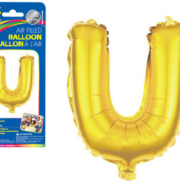 """Gold Letter U Balloon (14"""" Air Filled)"""