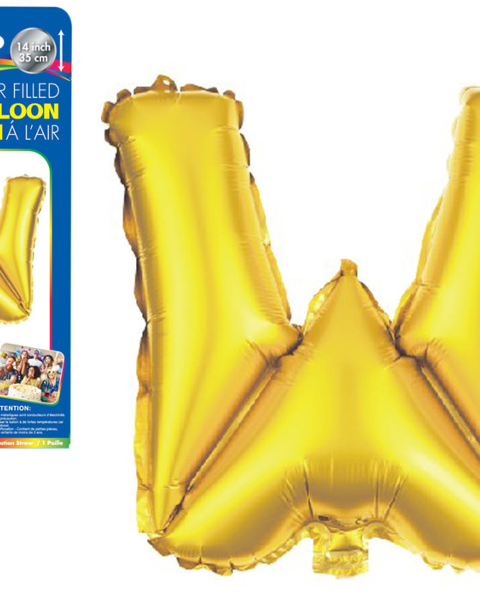 "let's Party Gold Letter W Balloon (14"" Air Filled)"