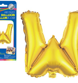 """Gold Letter W Balloon (14"""" Air Filled)"""