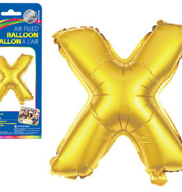"""Gold Letter X Balloon (14"""" Air Filled)"""