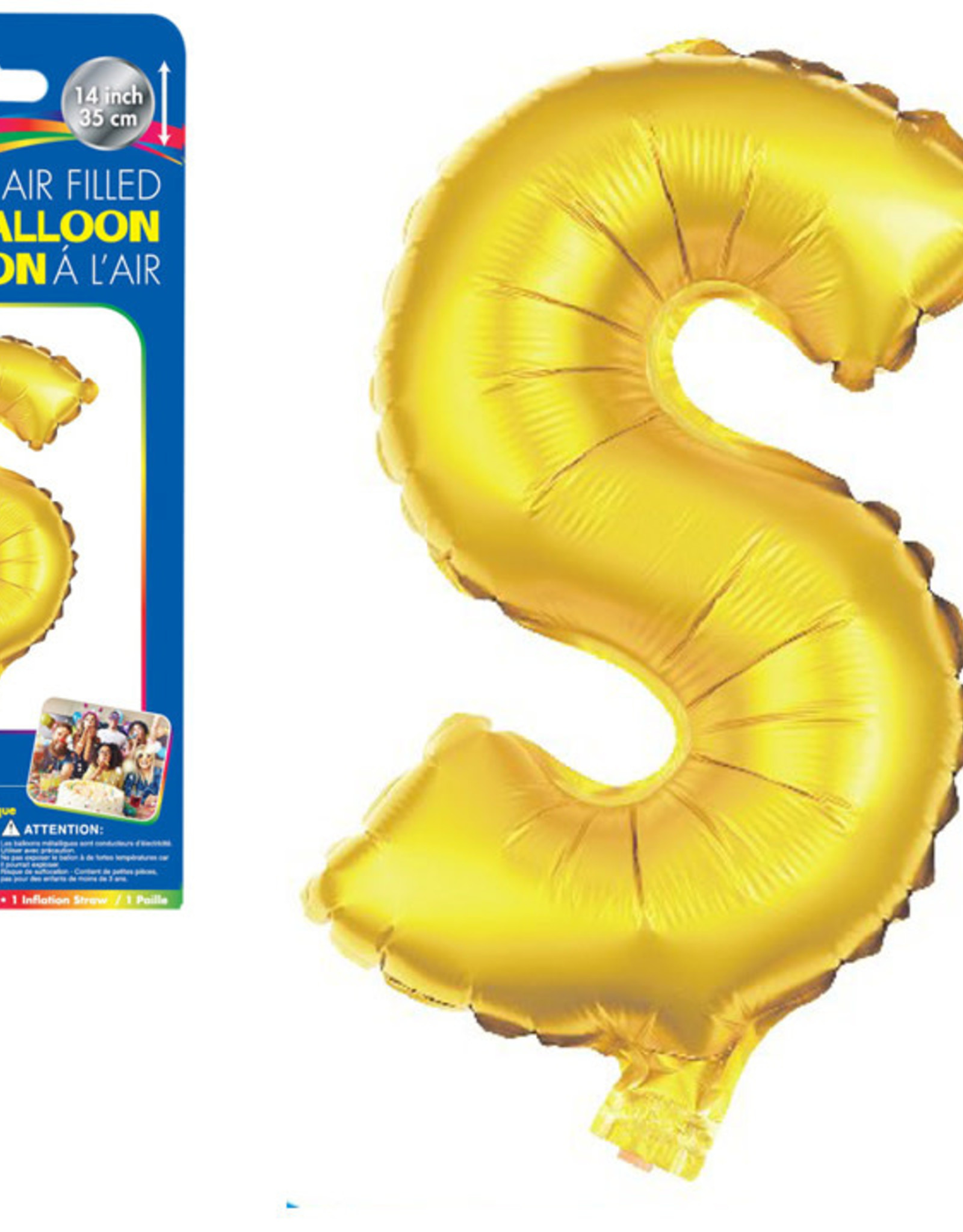"""let's Party Gold Lettetr S Balloon (14"""" Air Filled)"""