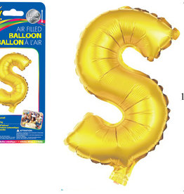 "Gold Lettetr S Balloon (14"" Air Filled)"