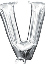 """Silver Letter V Balloon (16"""" Air Filled)"""