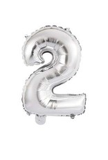 """Silver Number 2 Balloon (14"""" Air Filled)"""