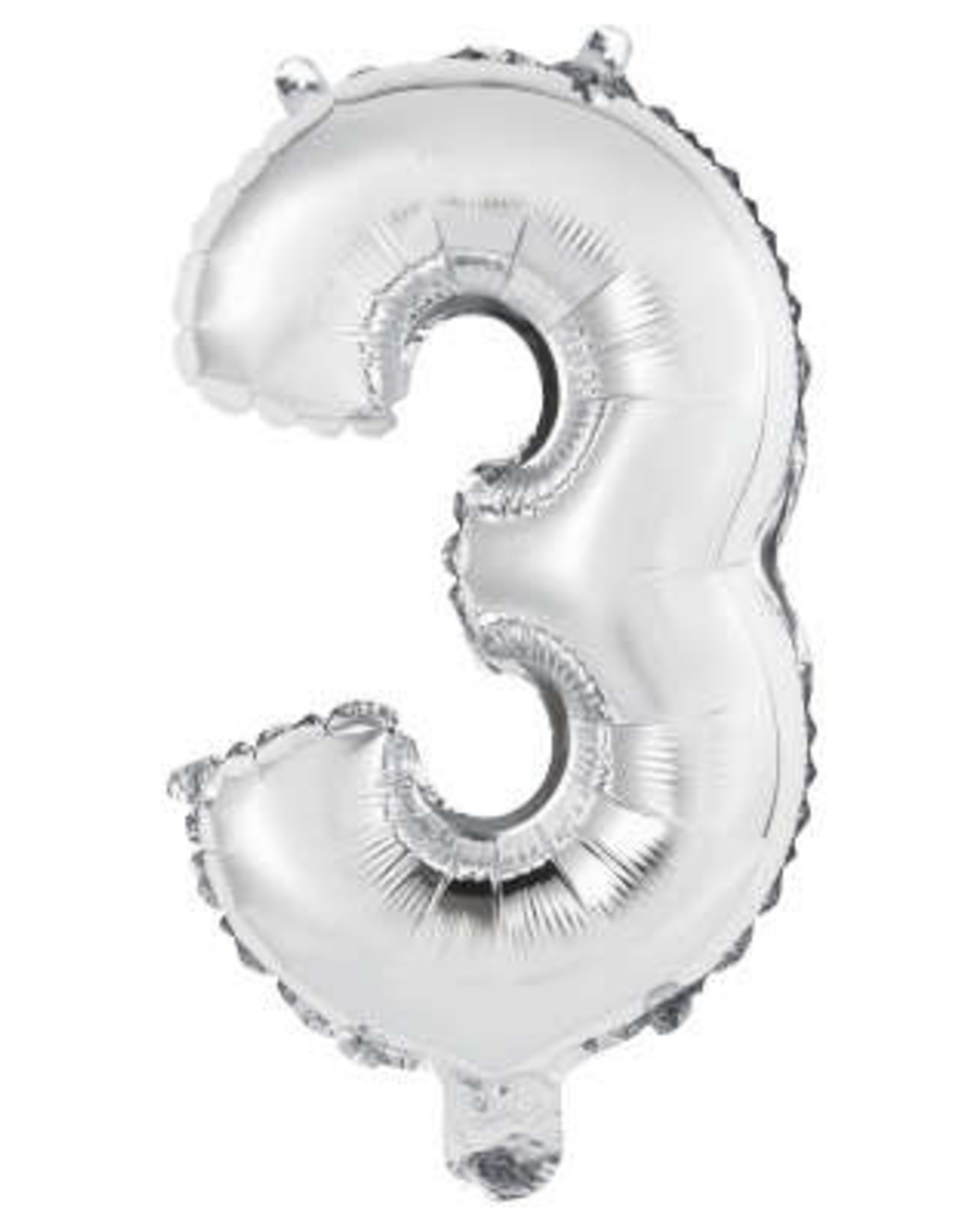 """Silver Number 3 Balloon (14"""" Air Filled)"""