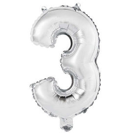"Silver Number 3 Balloon (14"" Air Filled)"