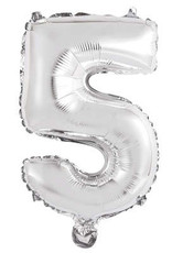 """Silver Number 5 Balloon (14"""" Air Filled)"""