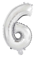 "Silver Number 6 Balloon (14"" Air Filled)"