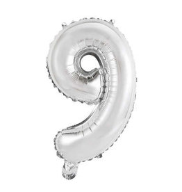 """Silver Number 9 Balloon (14"""" Air Filled)"""