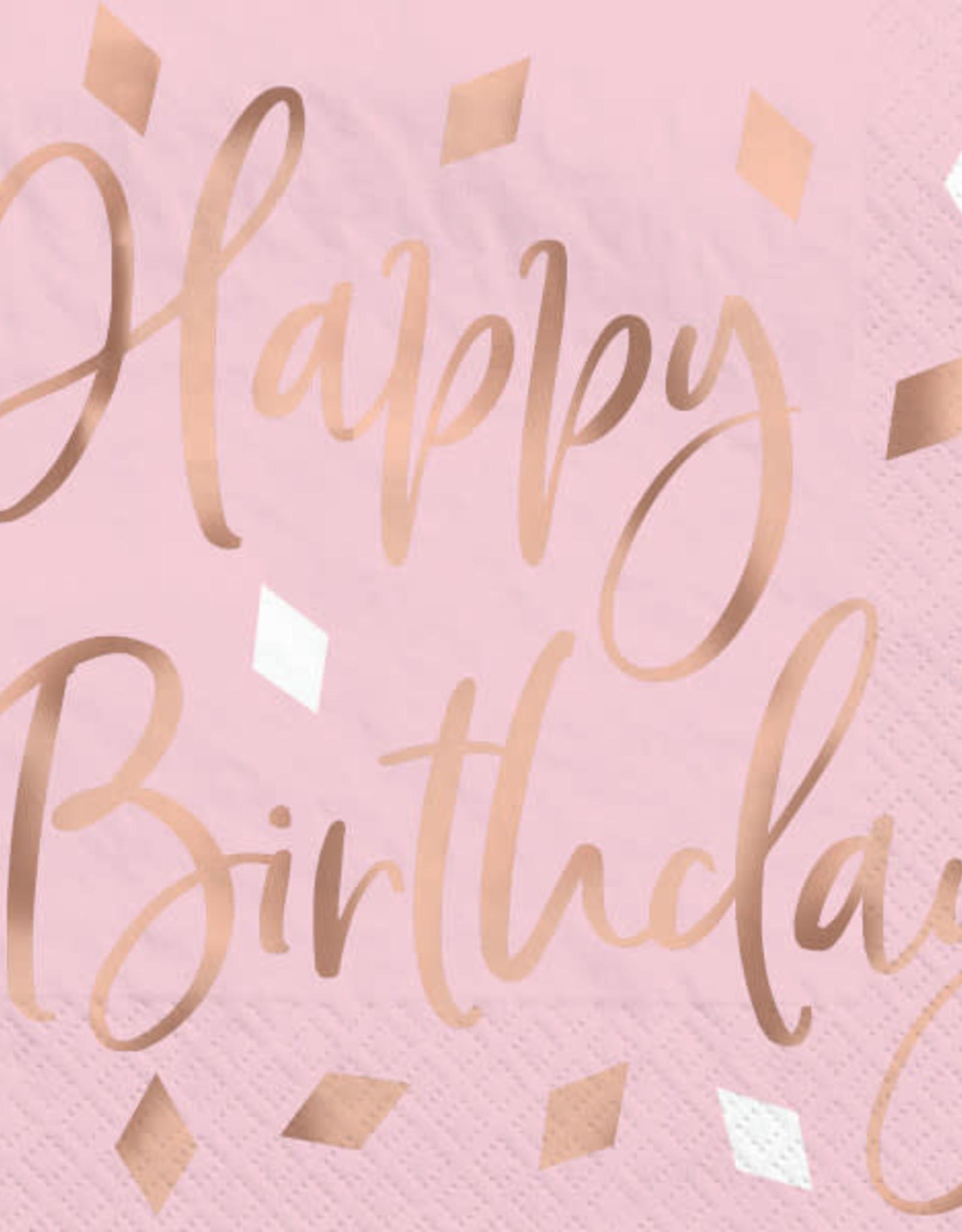 Rose Gold Blush 'Happy Birthday' Foil Stamped Beverage Napkins 16ct
