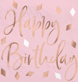 Rose Gold Blush 'Happy Birthday' Foil Stamped Beverage Napkins 16ct