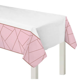 "Rose Gold Blush Plastic Tablecloth 54"" x 102"""
