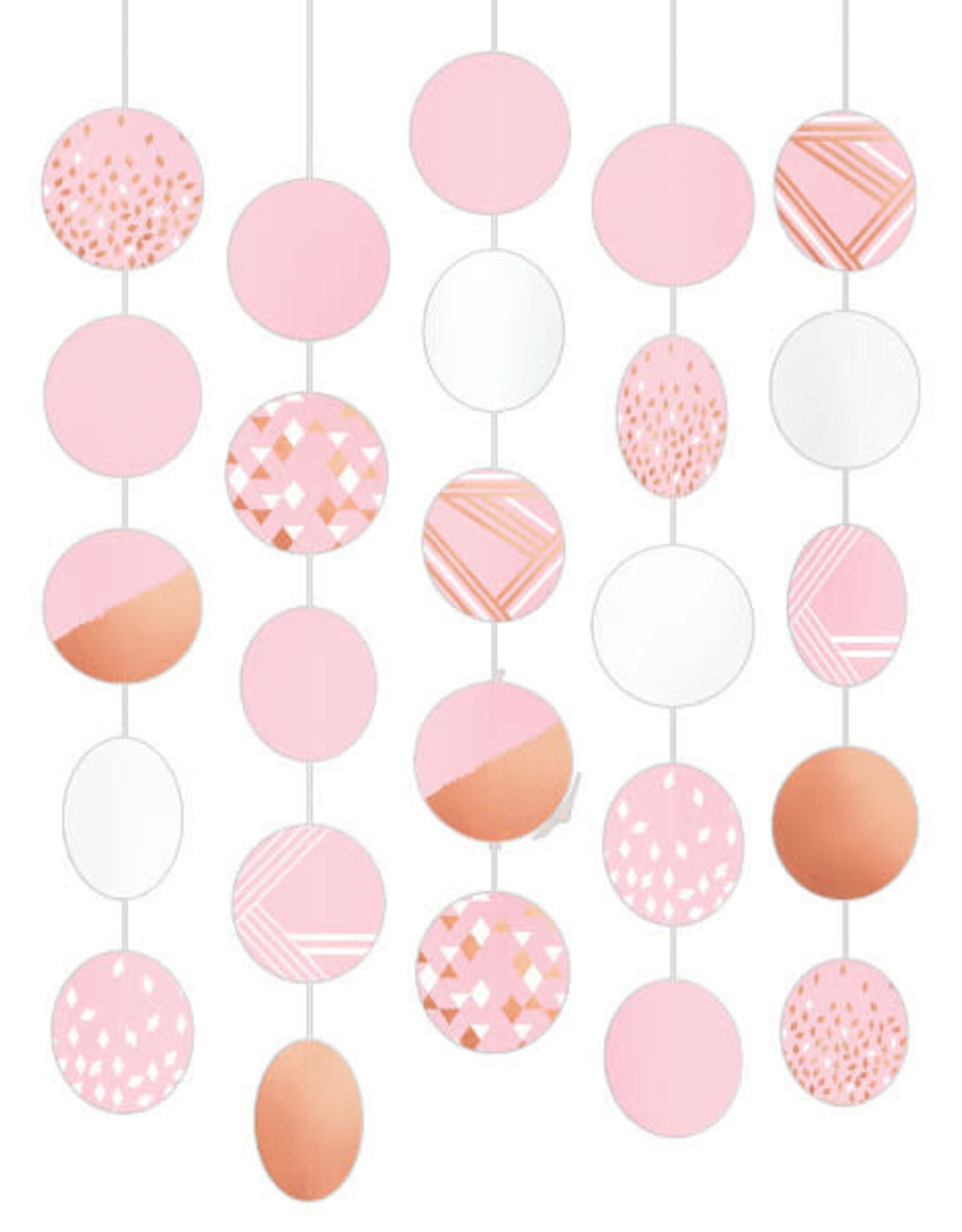 Rose Gold Blush Hanging Circle Decorations 5ct