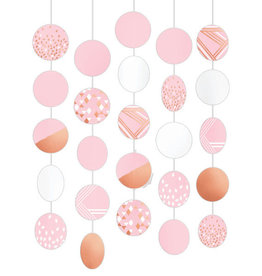 Rose Gold Blush Hanging Circle Decorations 5ct