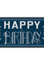 "Navy Blue and White 65"" Giant Happy Birthday Sign"