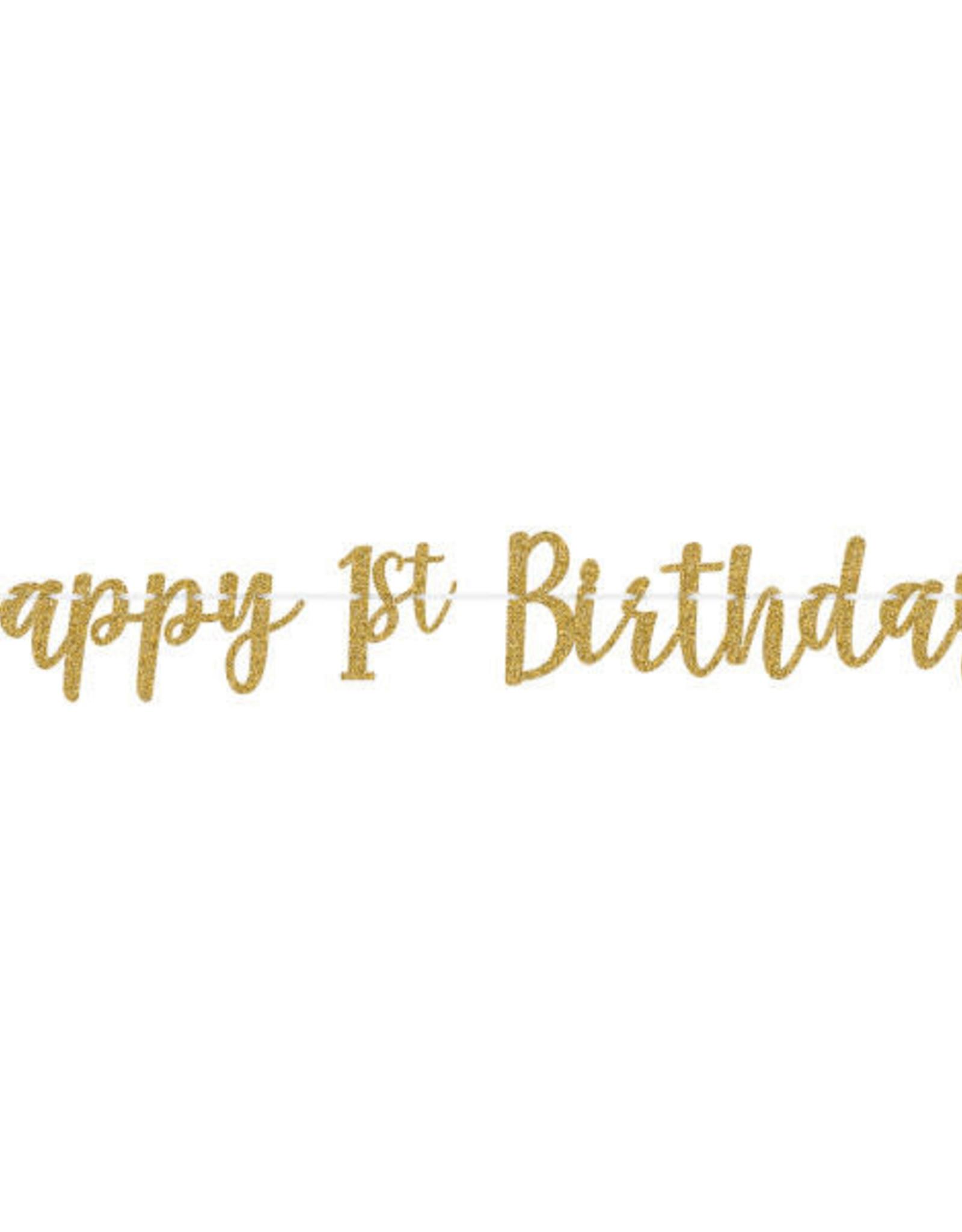 1st Birthday Gold Glitter Banner 12FT