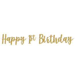 1st Birthday Gold Glitter Banner 12FT