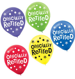 "'Officially Retired' 12"" Latex Balloons 15c"
