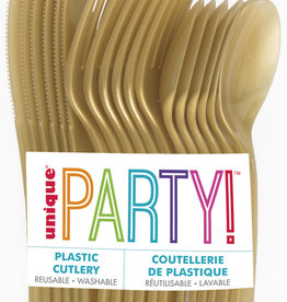 Gold Solid Assorted Plastic Cutlery 18ct