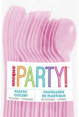 Lovely Pink Solid Assorted Plastic Cutlery 18ct