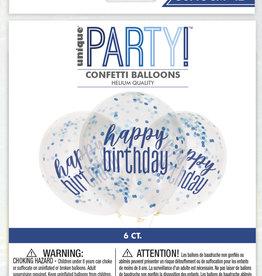 "Clear Printed Blue Happy Birthday Confetti 12"" Latex 6ct"