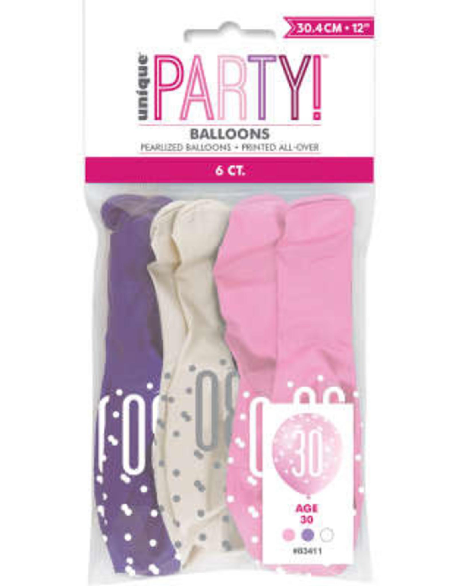Pink, Purple & White 30th Latex Balloons, 6pk