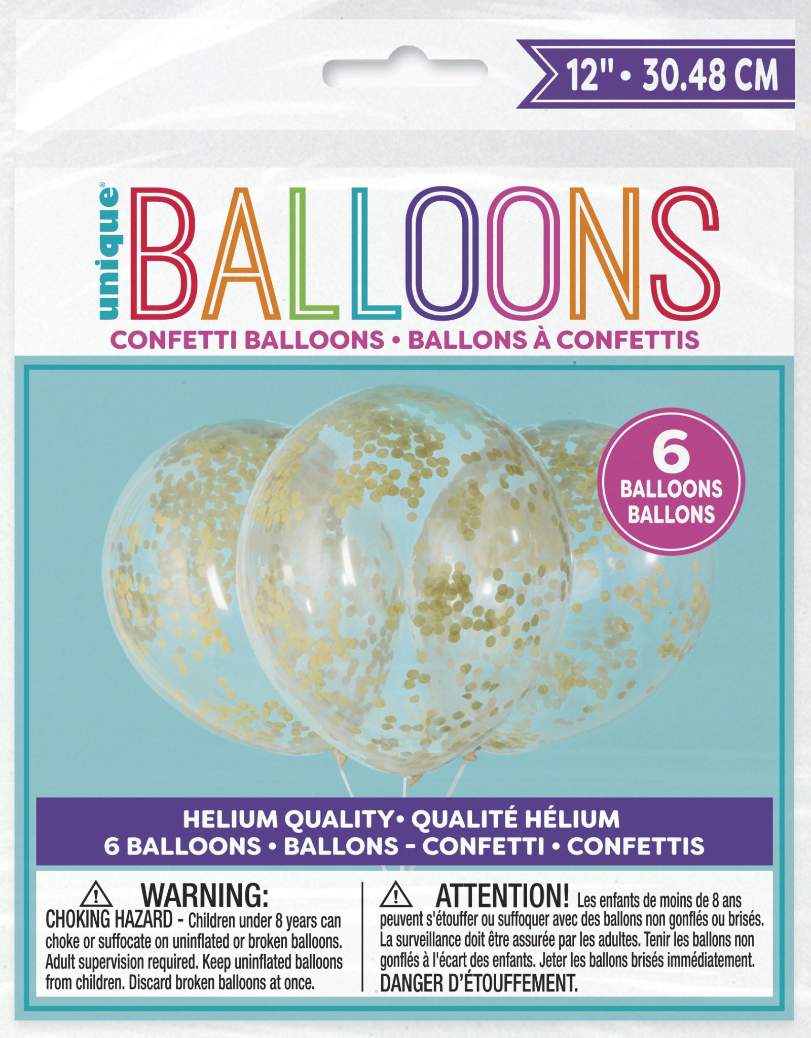 """Confetti Balloons-Gold Confetti 12"""" Latex, 6pk - Pre-Filled"""