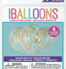 "Confetti Balloons-Gold Confetti 12"" Latex, 6pk - Pre-Filled"
