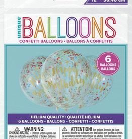 """Confetti 'Happy Birthday' Printed Balloons - Multi Color Confetti 12"""" Latex, 6pk"""