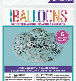 "Confetti Balloons-Glittering Birthday With Black, Gold And Silver Confetti 12"" Latex, 6pk - Pre-Filled"