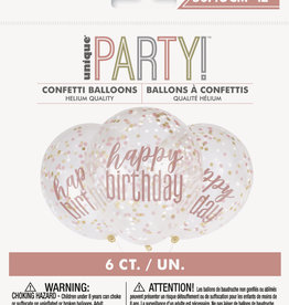 "Confetti Balloons-Rose Gold Happy Birthday 12""Latex, 6pk"