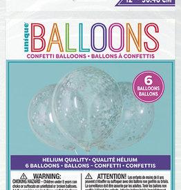 """Confetti Balloons - Silver 12"""" 6pk"""