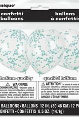 "Confetti Balloons - Caribbean Teal 12"" Latex  6pk"