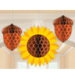 Honeycomb Fall Acorn Decoration 3ct