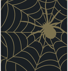 Spider Halloween Black and Gold Plastic Tablecloth