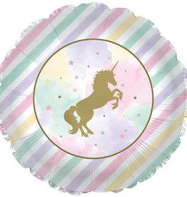 "Pastel Stripes Unicorn Foil Balloon 18"""